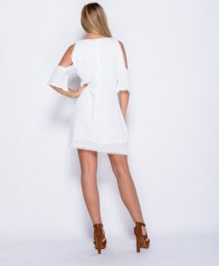 Cold-shoulder-crochet-trim-dress 5
