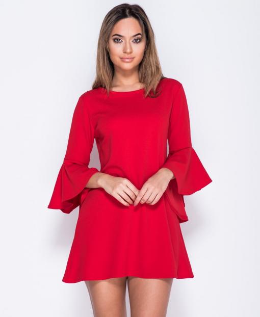 Bell Sleeve Shift Red Mini Dress 1