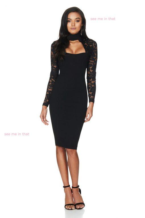 Black Lace Long Sleeve Dress 1