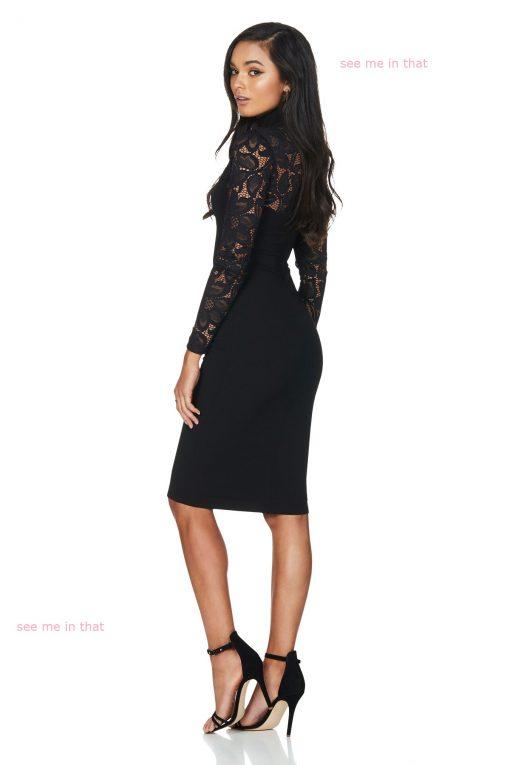 Black Lace Long Sleeve Dress 2