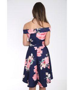 Off The Shoulder Floral Print Bardot Skater Dress 5