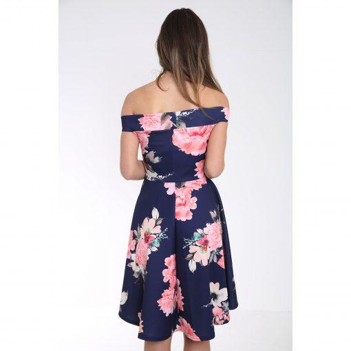 Off The Shoulder Floral Print Bardot Skater Dress 3