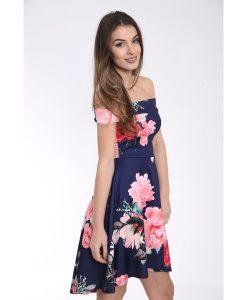 Off The Shoulder Floral Print Bardot Skater Dress 4