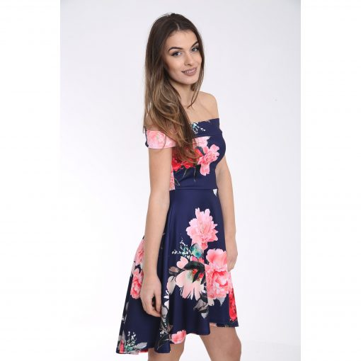 Off The Shoulder Floral Print Bardot Skater Dress 2