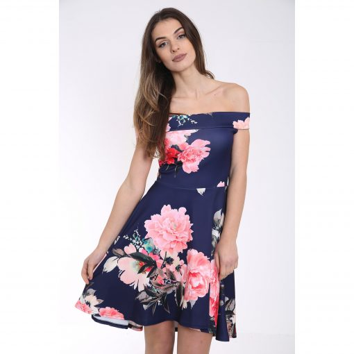 Off The Shoulder Floral Print Bardot Skater Dress 1