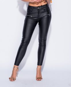 PU 2 Zip Detail Skinny Trousers 8
