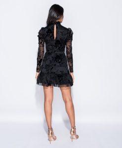 Black Flock Print Frill Hem Dress 5