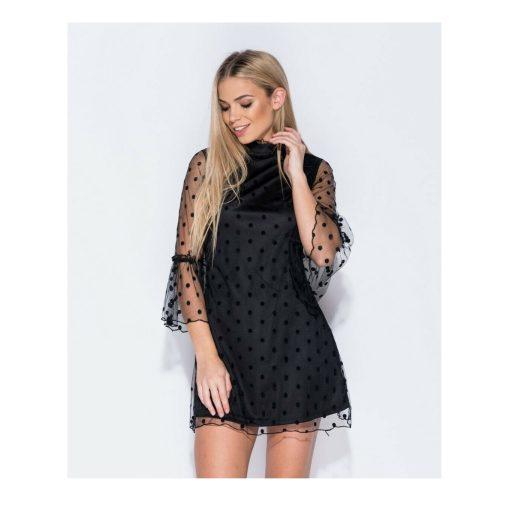 Polka dot bell mesh sleeved dress 1