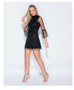 Polka dot bell mesh sleeved dress 5