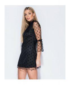 Polka dot bell mesh sleeved dress 6