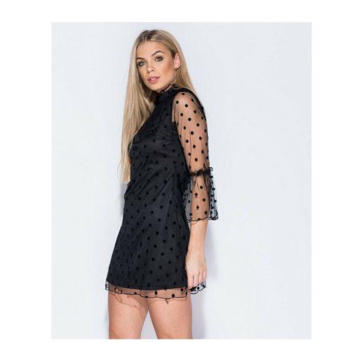 Polka dot bell mesh sleeved dress 3