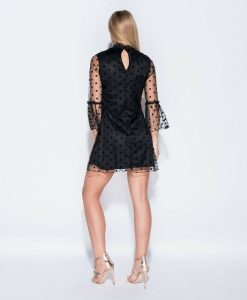 Polka dot bell mesh sleeved dress 7