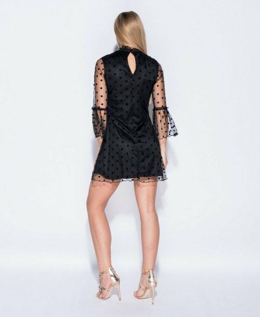 Polka dot bell mesh sleeved dress 4