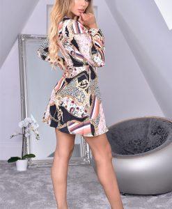 Kayali Black Front Wrap Floral Crepe Dress 3