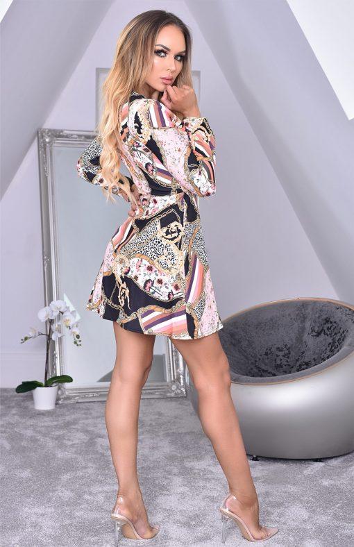 Kayali Black Front Wrap Floral Crepe Dress 2