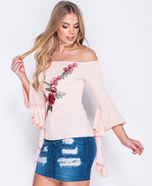 Pink Bardot Frill Trim Sleeve Top 1