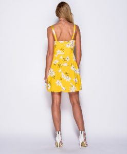 Yellow Floral Tie Front Summer Dress 9
