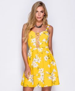 Yellow Floral Tie Front Summer Dress 6