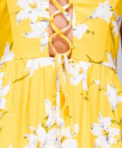 Yellow Floral Tie Front Summer Dress 7