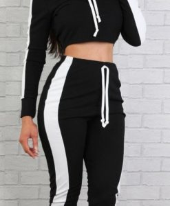 Ladies Stripe Detail Contrast Colour Block Drawstring Cropped Hood Two Piece Loungewear Set