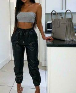 Wet Look PU PVC Shiny ladies Faux Leather Leggings 6