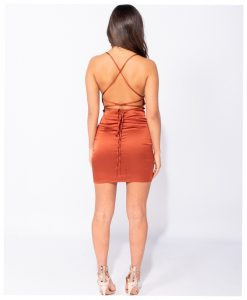 Rust Satin Cowl Neck Tie Back Bodycon Mini Dress 5