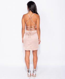 Champagne Satin Cowl Neck Tie Back Bodycon Mini Dress 5