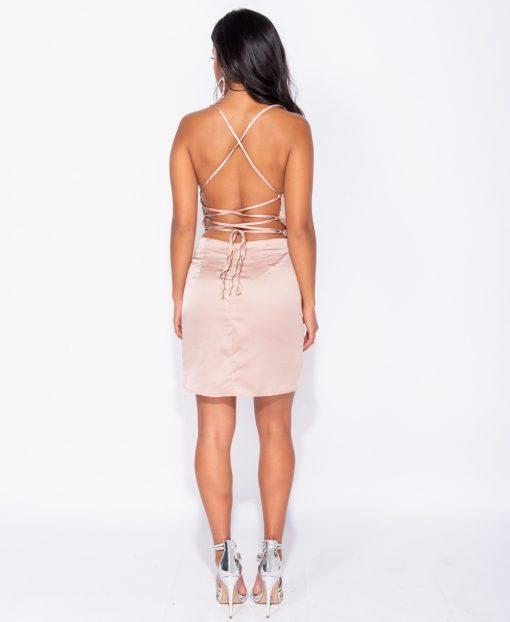 Champagne Satin Cowl Neck Tie Back Bodycon Mini Dress 3