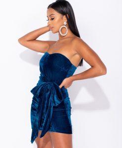 Velvet Bandeau Bow Tie Detail Bodycon Mini Dress 6