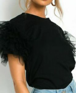 Tulle Scoop Neck Frill Mesh top 3