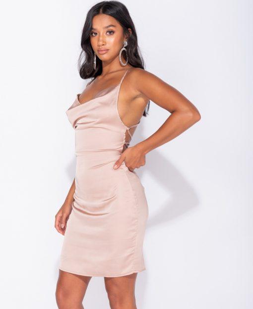 Champagne Satin Cowl Neck Tie Back Bodycon Mini Dress 2