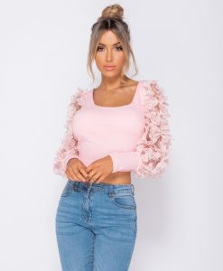 Sheer Frill Sleeve Scoop Neck Cropped Rib Knit Top 6