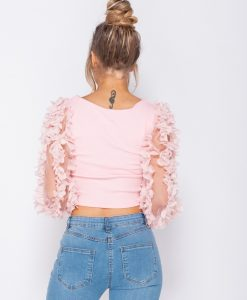 Sheer Frill Sleeve Scoop Neck Cropped Rib Knit Top 9