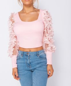 Sheer Frill Sleeve Scoop Neck Cropped Rib Knit Top 7