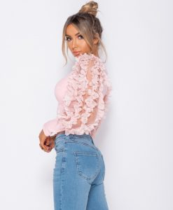 Sheer Frill Sleeve Scoop Neck Cropped Rib Knit Top 8