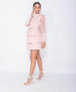 High Neck Tiered Mini Dress 5