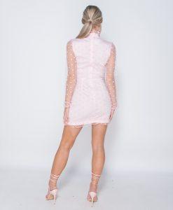 Polka Dot Sheer High Neck Frill Trim Dress 7