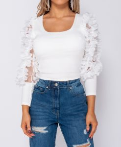 White Sheer Frill Sleeve crop top 8