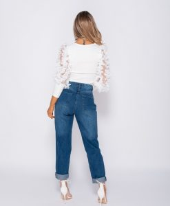 White Sheer Frill Sleeve crop top 11