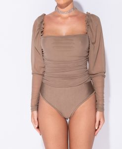 Sheer Puff Sleeve Ruching Detail Bodysuit 10