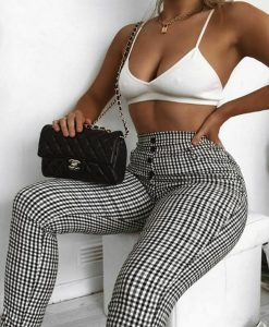 Womens Ladies Cigarette Pants 5 Button Check High Waist Stretchy Trousers Skinny 5