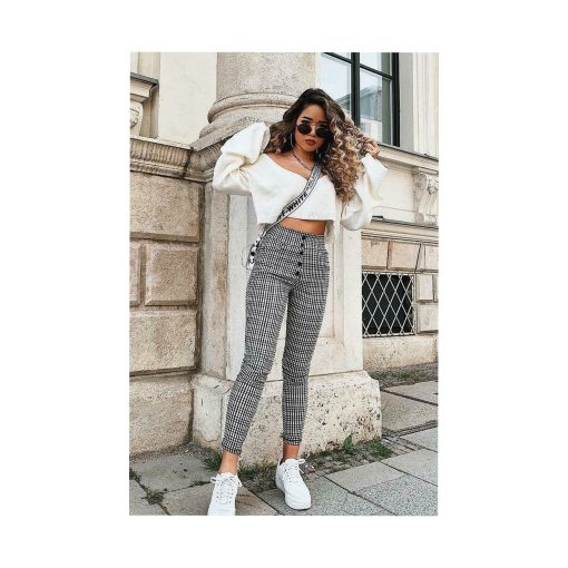 Womens Ladies Cigarette Pants 5 Button Check High Waist Stretchy Trousers Skinny 1