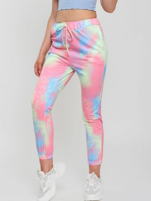 womans tie dye joggers multi colored 1