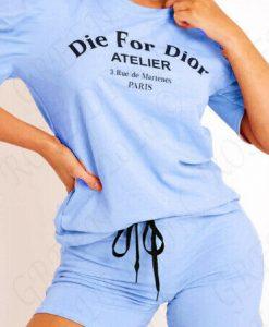 DIE FOR SLOGAN T SHIRT TOP SHORT SET 3
