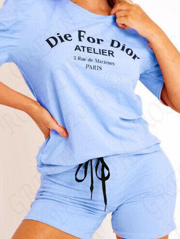 DIE FOR SLOGAN T SHIRT TOP SHORT SET 1